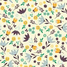 Retro Floral Seamless Pattern ...