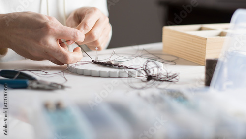 Lifestyle concept, work from home to reinvent your life: close-up of woman hands Canvas Print