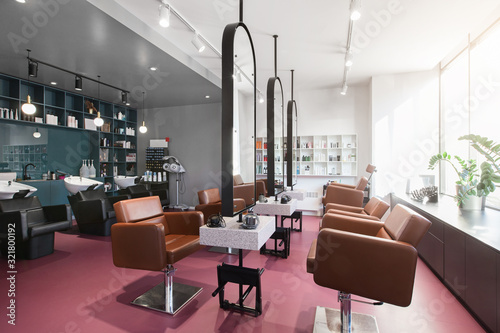 Photographie Workplace makeup artist and hairdresser in beauty salon