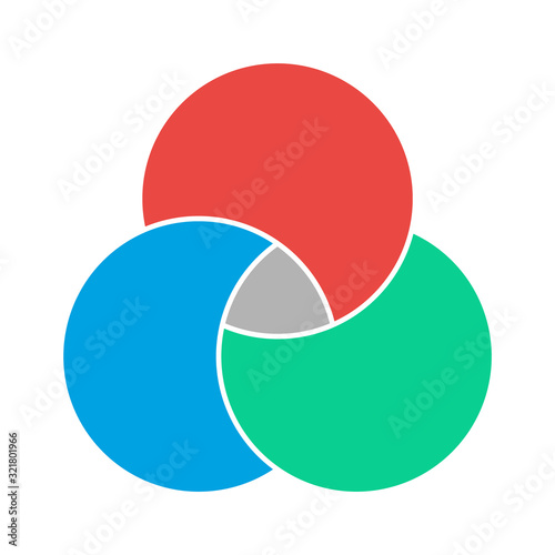 Photo Venn diagram maths vector, Negative space, color modern icon - isolated on white