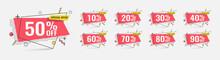 Sale Tags Set Vector Badges Template, 10 Off, 20 %, 90, 80, 30, 40, 50, 60, 70 Percent Sale Label Symbols, Discount.
