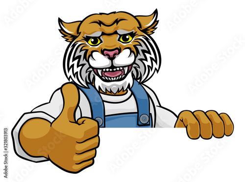 A wildcat cartoon animal mascot gardener, carpenter, handyman, decorator or buil Tapéta, Fotótapéta