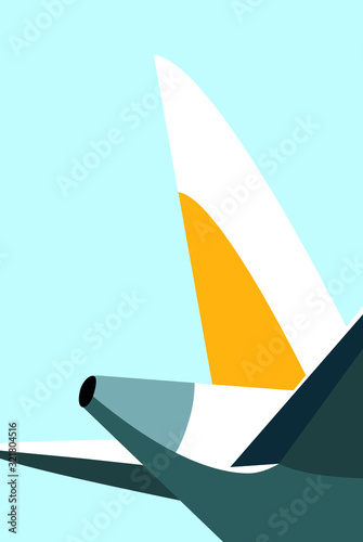 Photo Part of the plane flat style blue background