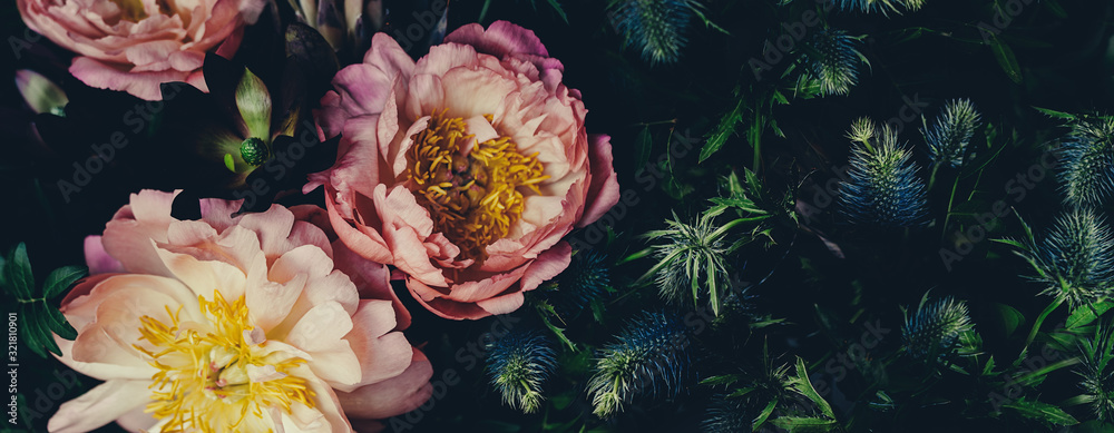 Fototapeta Vintage bouquet of peonies on black. Floristic decoration. Floral background. Baroque old fashiones style image. Natural flowers pattern wallpaper or greeting card