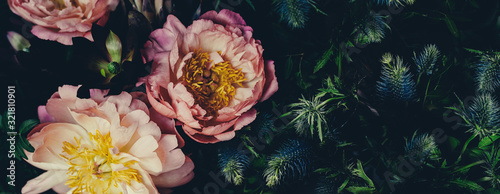 Obraz Vintage bouquet of peonies on black. Floristic decoration. Floral background. Baroque old fashiones style image. Natural flowers pattern wallpaper or greeting card - fototapety do salonu