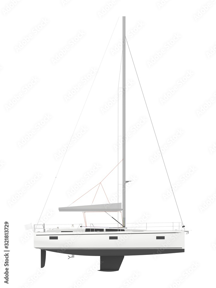 Fototapeta 3d rendering of a computer generated sailboat isolated in white studio