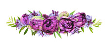 Purple Peony Tulips And Lilac Flowers In A Floral Arrangement