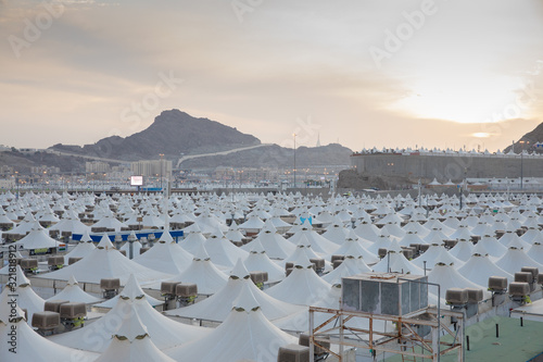 Makkah, Saudi Arabia: Landscape of Mina, City of Tents, the area for hajj pilgrims to camp during jamrah 'stoning of the devil' ritual