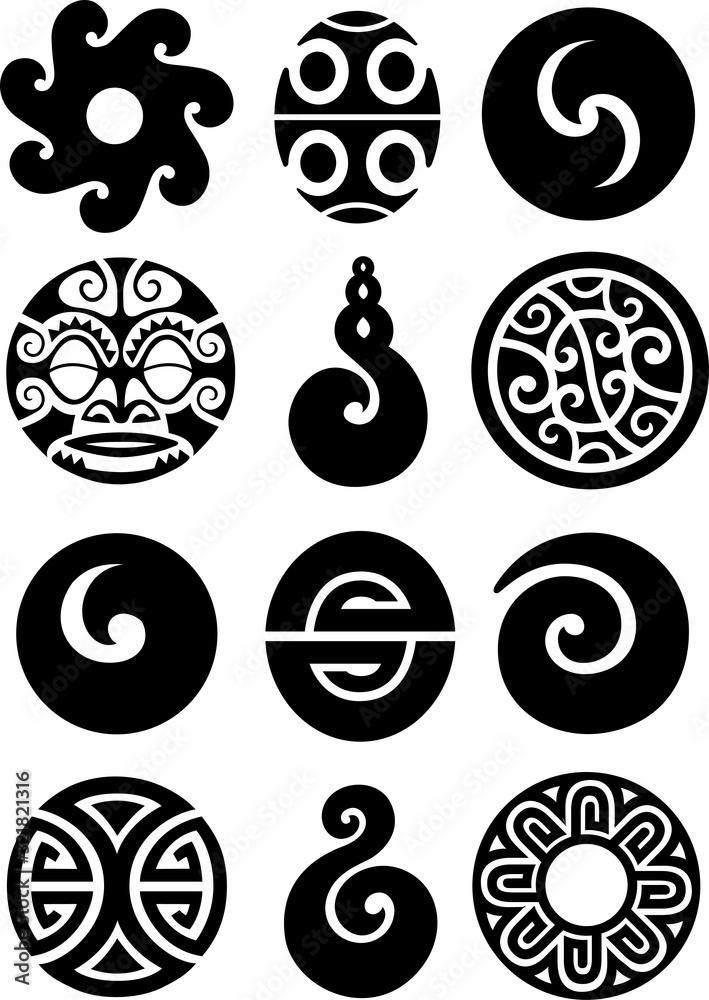 Fototapeta Collection of polynesian symbols and designs