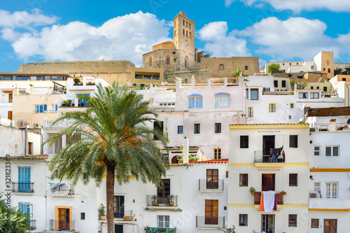 View of the old town of Ibiza, Spain. Dalt Vila historical town in a sunny day. Travel destinations, mediterranean and vacation concept.