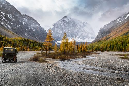 Photo Kosh-Agachsky District, Altai Republic, Russia - September, 16, 2019: UAZ SUV in