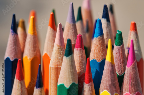 Obraz na plátně Close-up view of bunch of the colored pencil