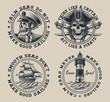 Set of vintage nautical illustration on the white background.