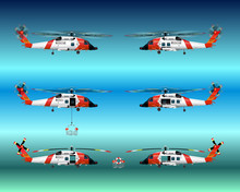Set Rescue Helicopters. Flying In The Sky. Standing On The Ground. With The Landing Gear Retracted And Released. Isolated Objects. Coast Security. Vector Graphics