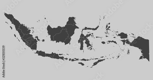 Fotografía Indonesia map, Asia country map vector template