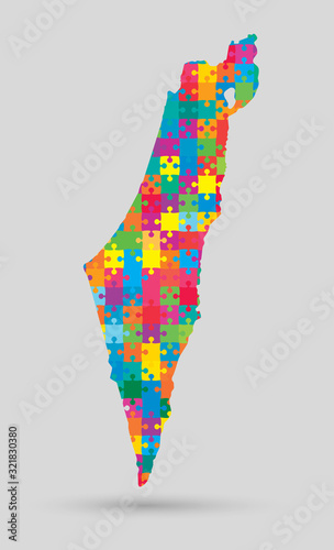 Fotografía Country Israel map made jigsaw puzzle pieces