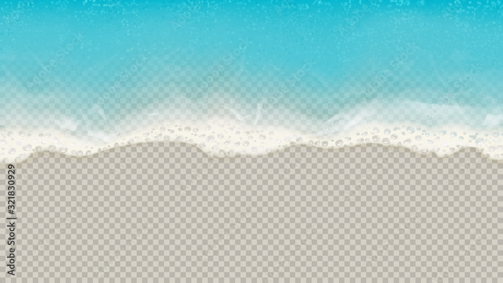 Fototapeta Top view of sea waves isolated on transparent background. Vector illustration with aerial view on realistic ocean or sea waves with foam.