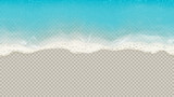 Fototapeta Fototapety z morzem do Twojej sypialni - Top view of sea waves isolated on transparent background. Vector illustration with aerial view on realistic ocean or sea waves with foam.