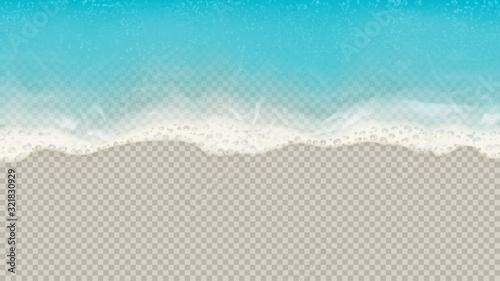 Top view of sea waves isolated on transparent background. Vector illustration with aerial view on realistic ocean or sea waves with foam. - 321830929