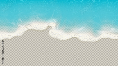 Obraz Top view of sea waves isolated on transparent background. Vector illustration with aerial view on realistic ocean or sea waves with foam. - fototapety do salonu
