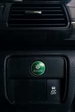 Econ Button On Dashboard Of Modern Car, Press The Button To Switch To A Setting That Saves Energy And To Improving Fuel Efficiency, Shallow Depth Of Field