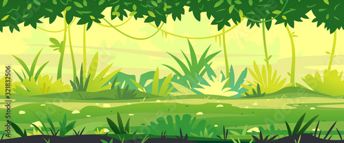 Photo Path through the jungle with green plants nature landscape tillable horizontally