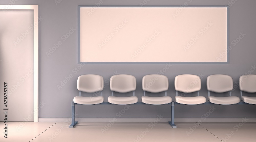 Obraz szablon poczekalnia szpital biuro poziomy pusty mockup render 3D fototapeta, plakat