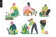 Gardening People Set, Spring -modern Flat Vector Concept Illustration Of Diverse People -men And Women, Doing Hobby Garden Work -watering, Planting, Cutting, Hoeing, Arranging Spring Gardening Concept