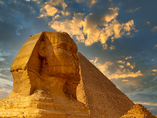 The Great Sphinx of Giza and the pyramids in Egypt