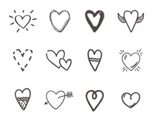Hand Drawn Hearts. Outline Scr...