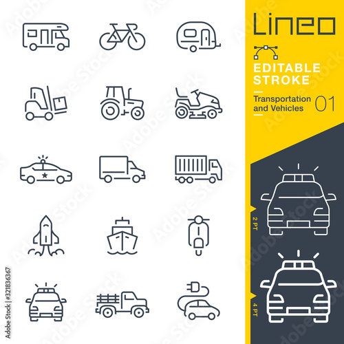 Lineo Editable Stroke - Transportation and Vehicles outline icons - 321836367