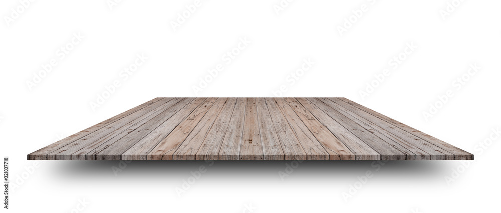 Fototapeta Empty top of wooden table or counter isolated on white background. For product display or design