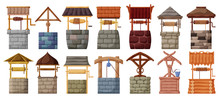 Water Well Vector Cartoon Set Icon.Vector Illustration Wooden And Stones Wellspring On White Background . Isolated Cartoon Set Icon Water Well.