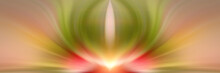 Abstract Energy Flower. Red And Green Background For Text: Yoga, Aura, Magic, Hypnosis, Meditation, Dream, Lotus, Harmony. Mandala, Esoteric - Concept.