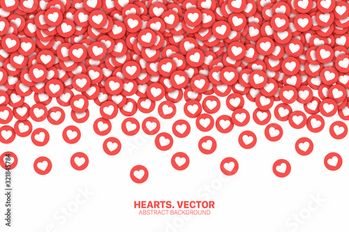 Falling Hearts Red Flat Icons Vector Abstract Background Canvas Print