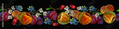 Embroidery fruit horizontal seamless pattern. Apples, plums, cherry. Summer garden art. Template for clothes, textiles, t-shirt design