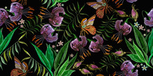 Embroidery Tiger Lillies And Butterfly, Horizontal Seamless Pattern. Template For Clothes, Textiles, T-shirt Design. Jungle Forest Art