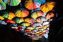 Rue Couverte De Parapluies Col...