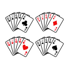 Royal Flush Hand Of Clubs, Diamonds, Hearts And Spades Playing Cards Deck Colorful Illustration. Poker Cards, Jack, Queen, King And Ace Vector.