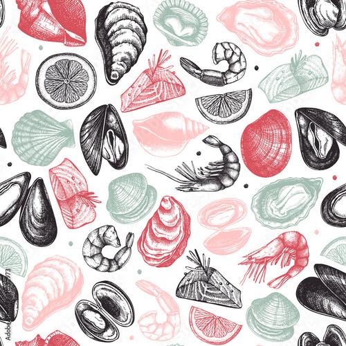 Vászonkép Vector seafood seamless pattern