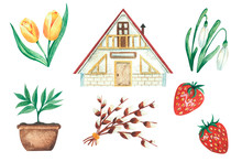 Set Of Watercolor Illustrations, Country Housea And Willow, Seedlings And Strawberries, Snowdrops. Isolated On A White Background.