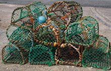 A Stack Of Lobster Pots In County Donegal, Ireland.