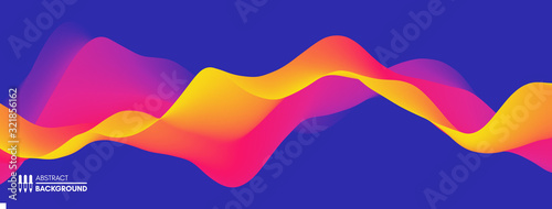 Fototapeta Abstract wavy background with modern gradient colors. Trendy liquid design. Motion sound wave. Vector illustration for banners, flyers and presentation. obraz