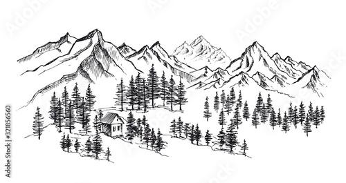 Leinwand Poster Mountain landscape, hand drawn illustration