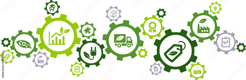 Fototapeta Sustainable business or green business vector illustration. Concept with connected icons related to environmental protection and sustainability in business.