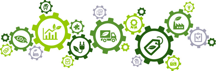 Sustainable business or green business vector illustration. Concept with connected icons related to environmental protection and sustainability in business.