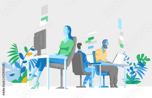 Obraz na plátně Impiegati, colleghi lavorano sul computer in ufficio - illustrazione vettoriale