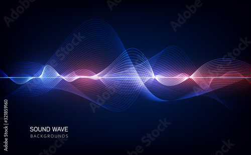 Fotografie, Obraz abstract blue digital equalizer, vector of sound wave pattern element