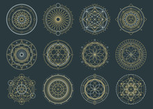 Vector Set Of Sacred Geometric Figures, Dreamcatcher And Mystic Symbols, Alchemical And Spiritual Signs