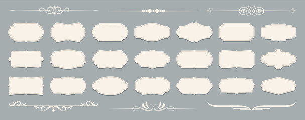 Set of luxury vintage frames, collection of retro labels, badges and banners vector decorative elements